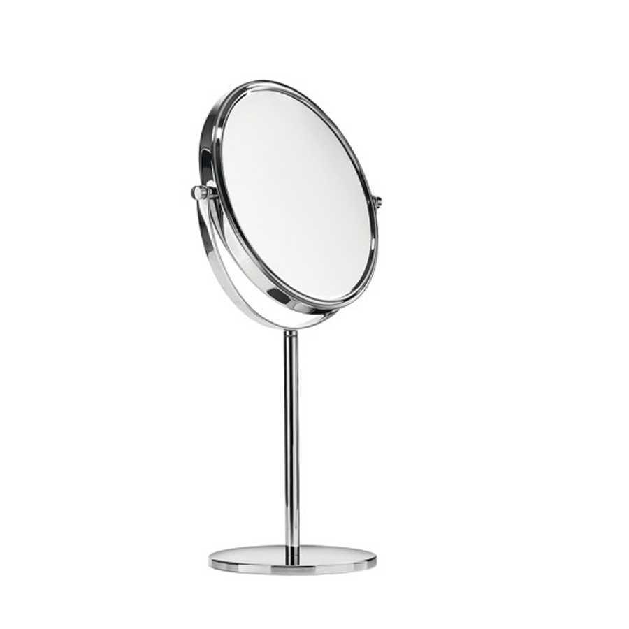 Specchio ingranditore tondo doppio da appoggio Lineabeta Mevedo. Doppia lente, un lato ingrandente 3x e un lato riflettente