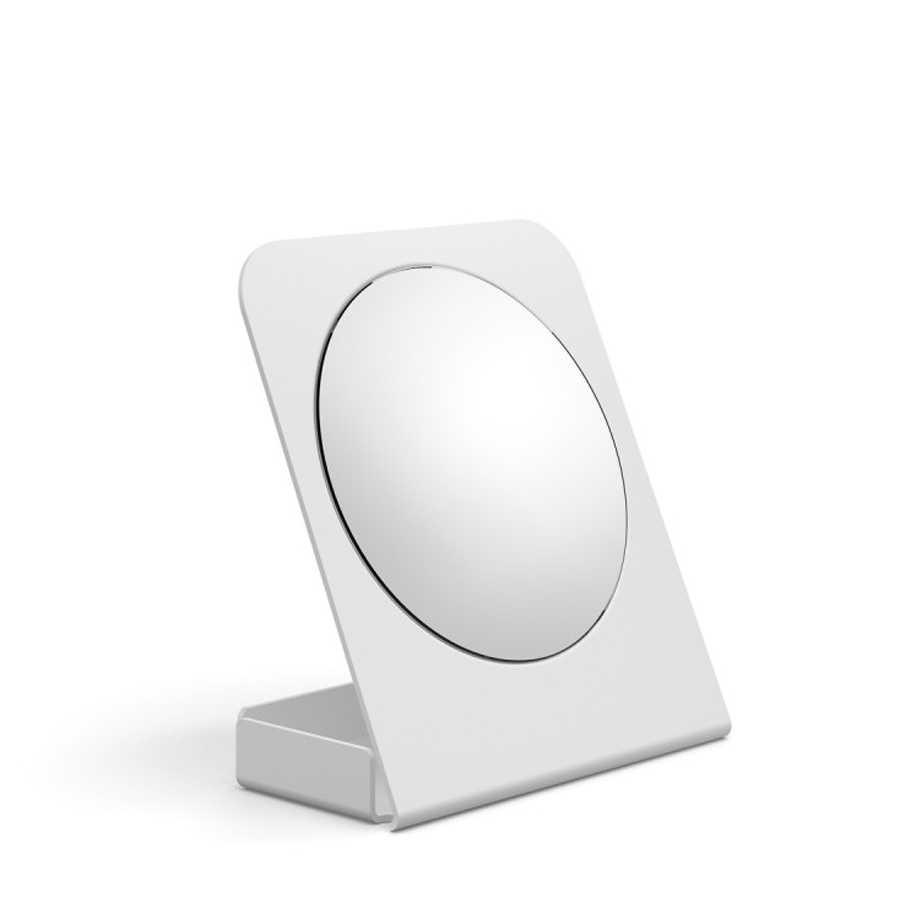 Specchio ingranditore da appoggio con struttura e contenitore in alluminio verniciato, disponibile in tre varianti colore. Ingrandimento 5x. Mevedo Lineabeta