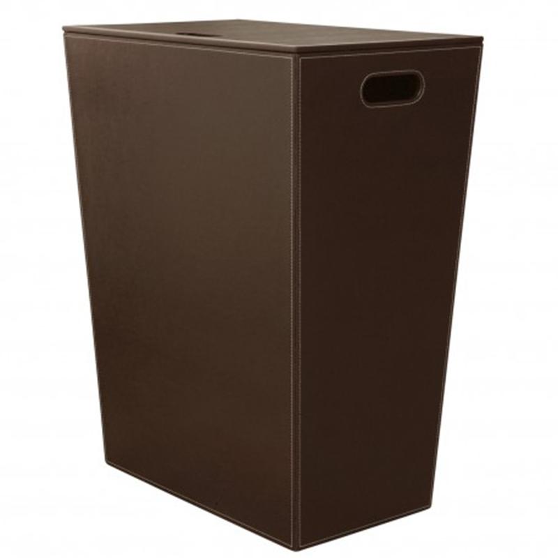 Cesto Porta Biancheria grande in eco pelle koh-i-noor colore marrone scuro