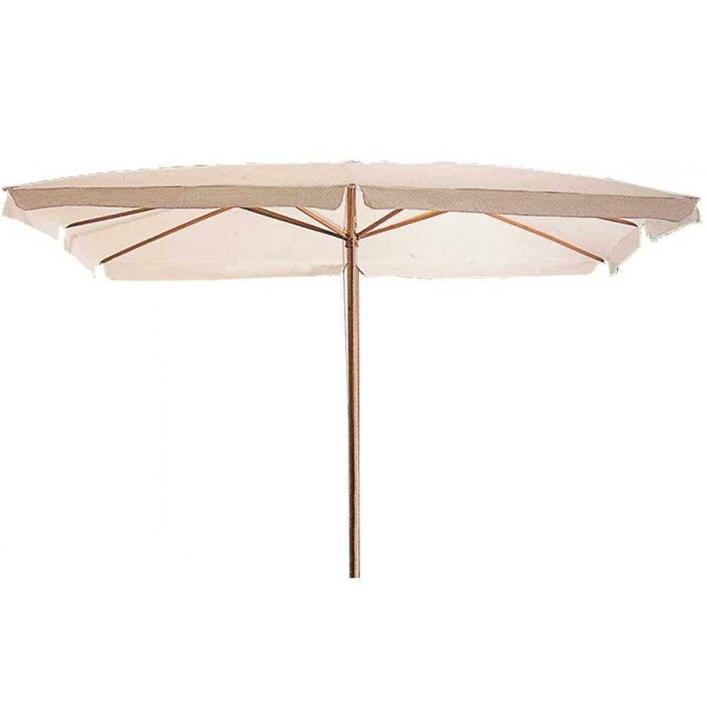 Ombrellone 200x300 cm con top poliestere ecrù e struttura in legno