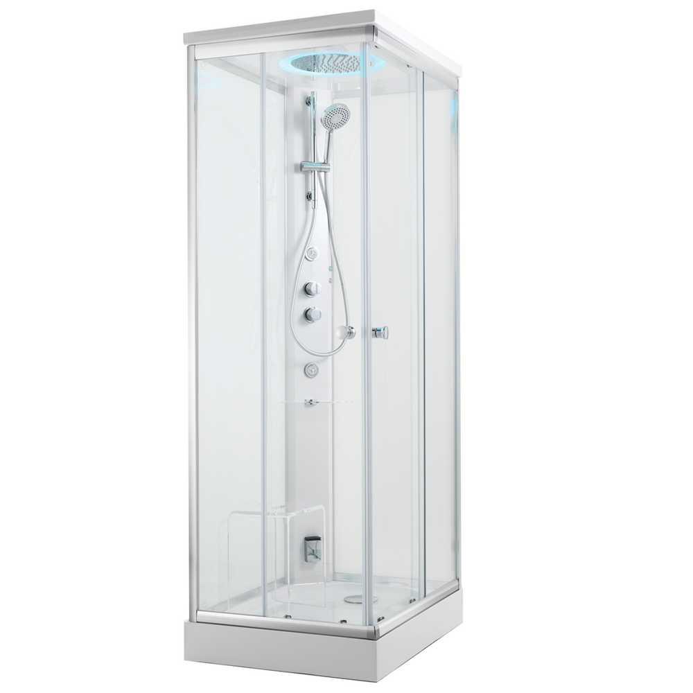 Cabina doccia multifunzione modello Kamet di Glass con idromassaggio e cromoterapia cm 100x100