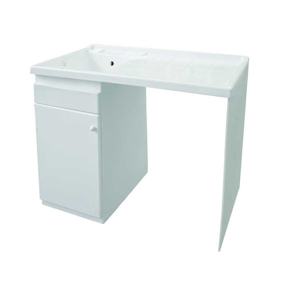 Mobile lavatoio con coprilavatrice 108x60 H.90 in resina adatto all'esterno- Versione con lavatoio a Sinistra