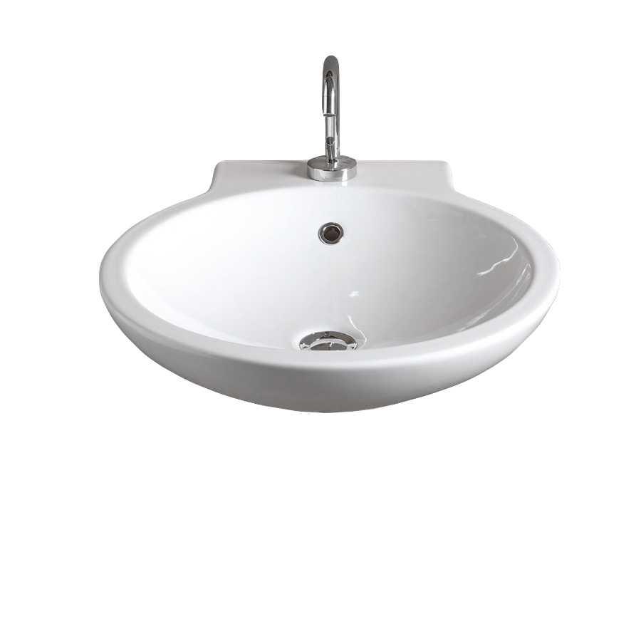 Lavabo sospeso e da appoggio Girotondo in ceramica lucida bianca  cm 50x57,5