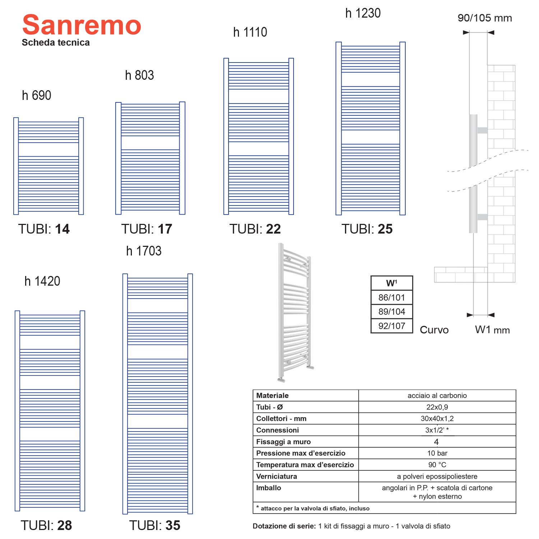 Termoarredo Lazzarini Sanremo curvo 1703x500 interasse 450 cromo