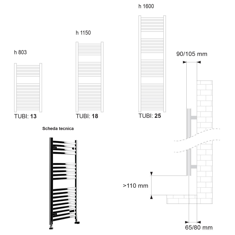 Termoarredo scaldasalviette Lazzarini Merano 803x500 interasse 450 cromato