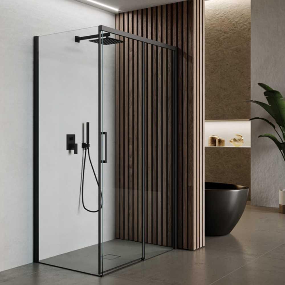 Box doccia rettangolare con apertura scorrevole verso destra cm 120x70 modello Lauren Carbon in cristallo temperato mm 8 e profili di colore nero