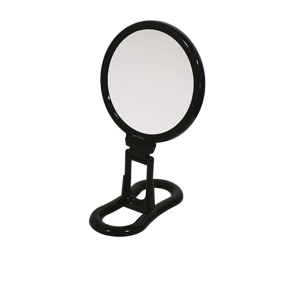 Specchio ingranditore con manico multi-snodo e supporto - linea 'Toeletta' bifacciale cm ø 18 - Ingrandimento X6 - Nero