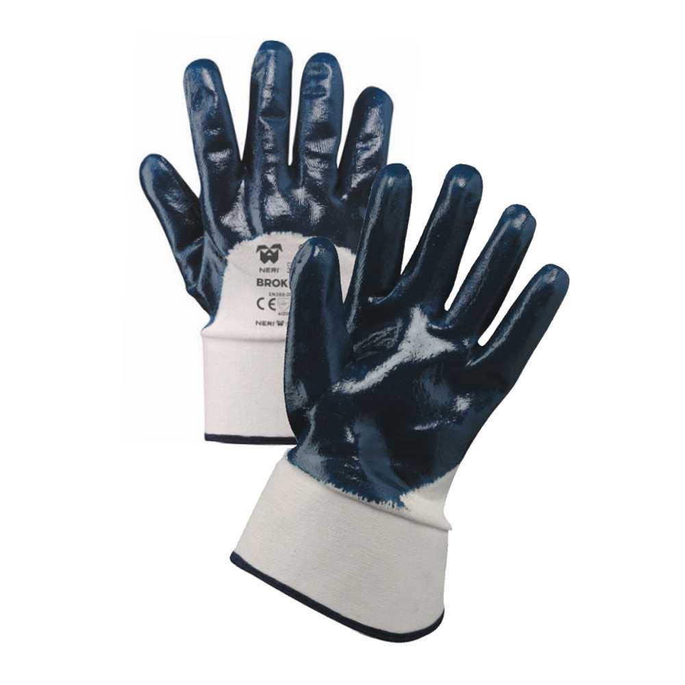 Guanti in tessuto jersey di cotone impregnato in NBR 'Brok 700' Tg. 9 Bianco-Blu