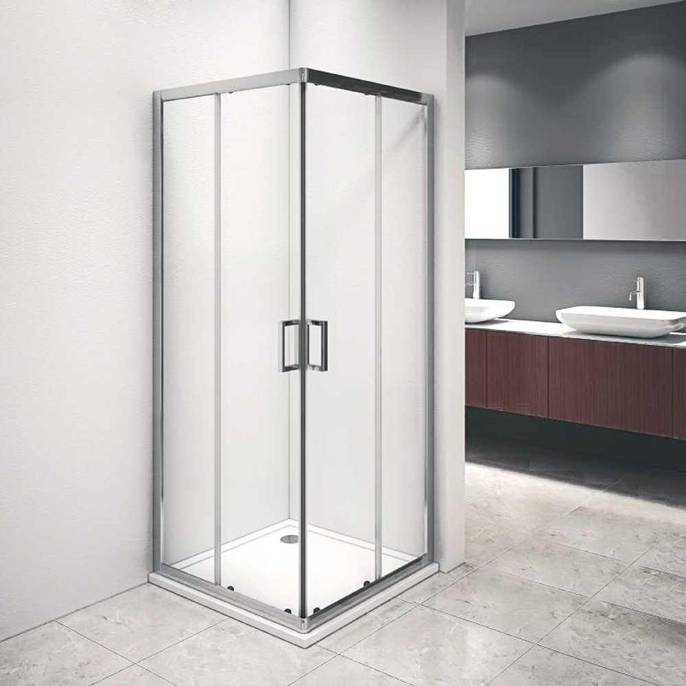 Box doccia Iconic cm 90x90 con apertura scorrevole angolare in cristallo temperato trasparente 6 mm