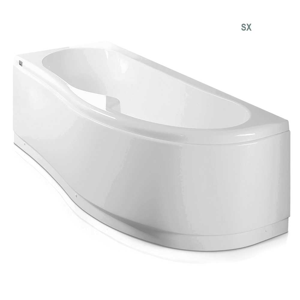Vasca Bagno asimmetrica Curvy in acrilico e Abs cm 170x70- Versione Sinistra