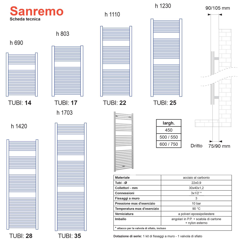Termoarredo scaldasalviette Lazzarini Sanremo 1703x550 interasse 500 bianco