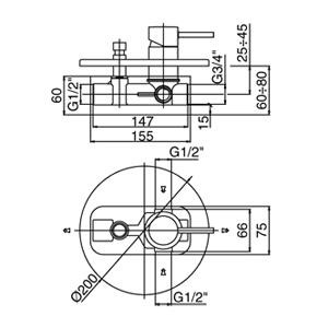 Miscelatore doccia da incasso con deviatore Paffoni Light LIG015CR