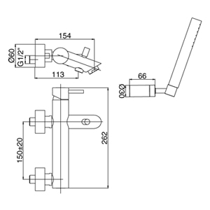 Miscelatore vasca Paffoni Light ottone cromo completo di doccetta duplex
