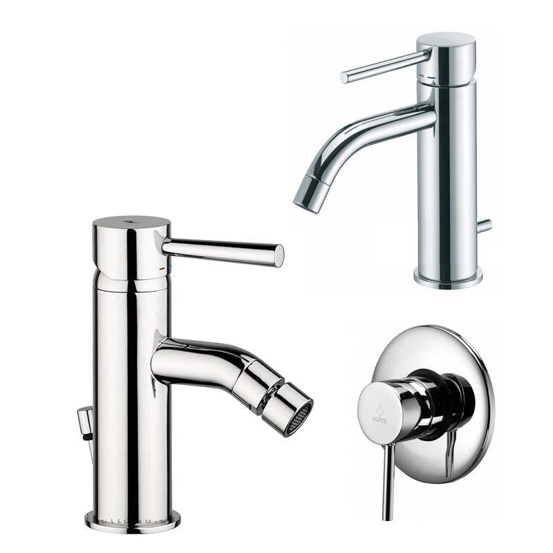 Paffoni Light miscelatore lavabo c/scarico, bidet c/scarico e doccia