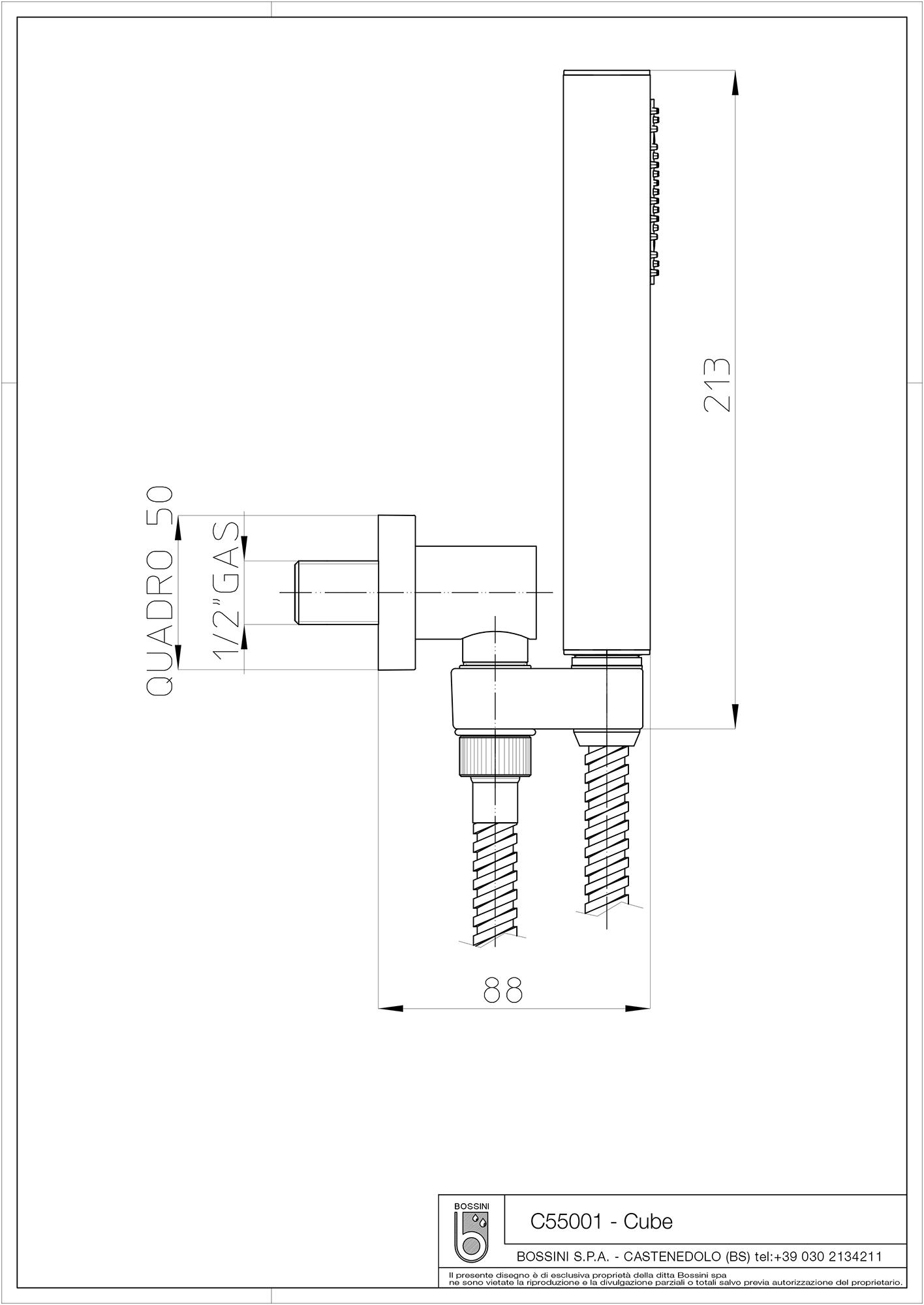 Bossini set doccia duplex modello CUBE completo di supporto e presa acqua