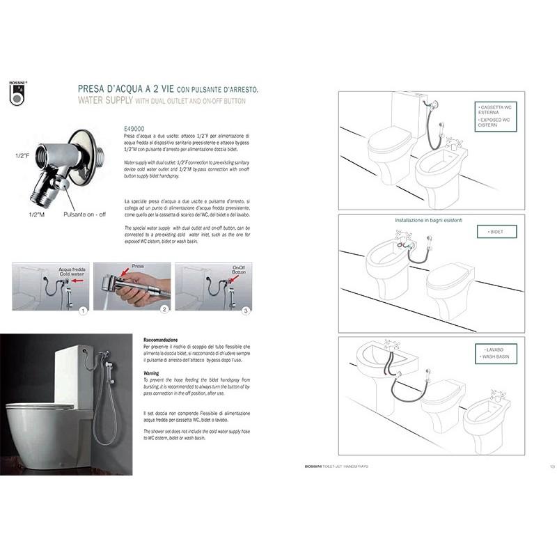 Set idrogetto Bossini Talita idroscopino completo di rubinetto e supporto