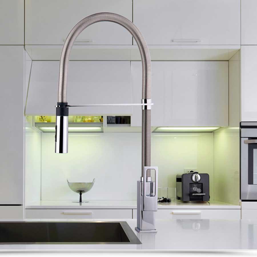 Miscelatore lavello Professional Paffoni Effe con doccia in ABS a doppio getto