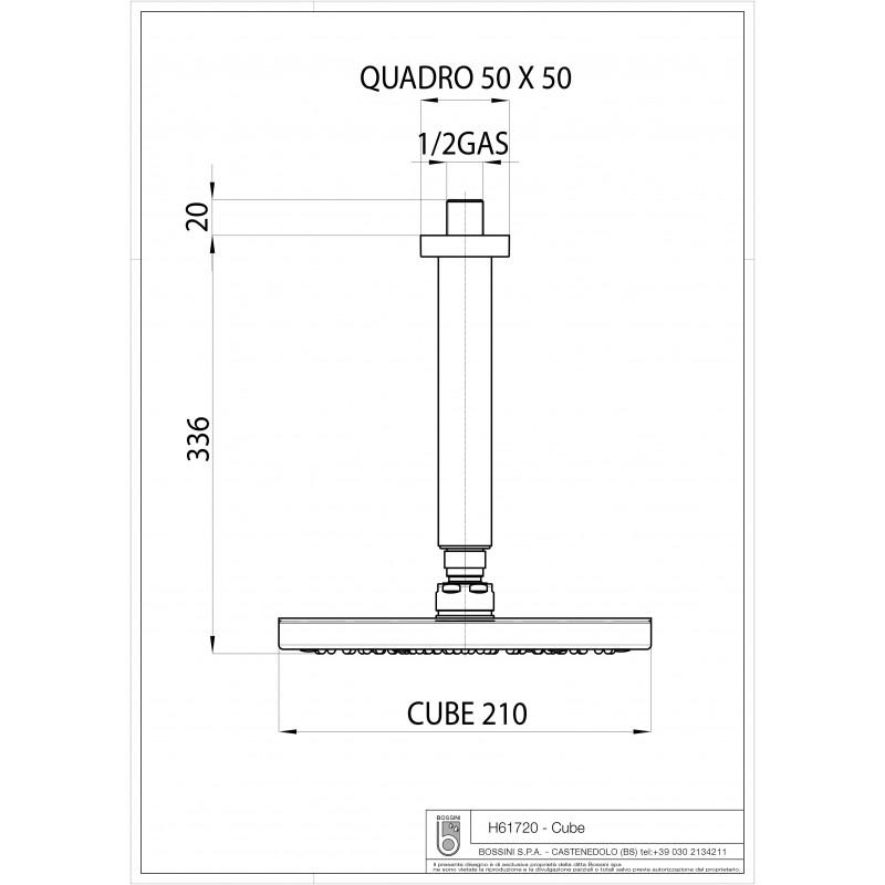Soffione doccia Bossini Cube 21x21 cm con braccio verticale da 30 cm
