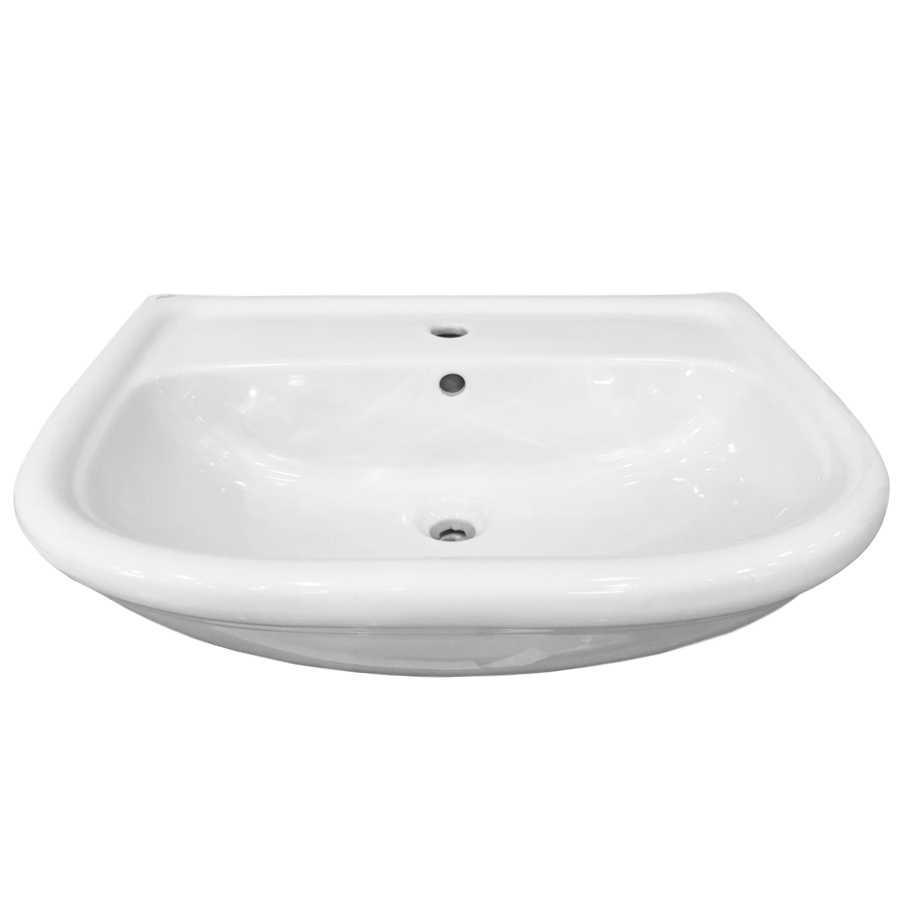 Lavabo per installazione semincasso in ceramica bianca lucida Globo