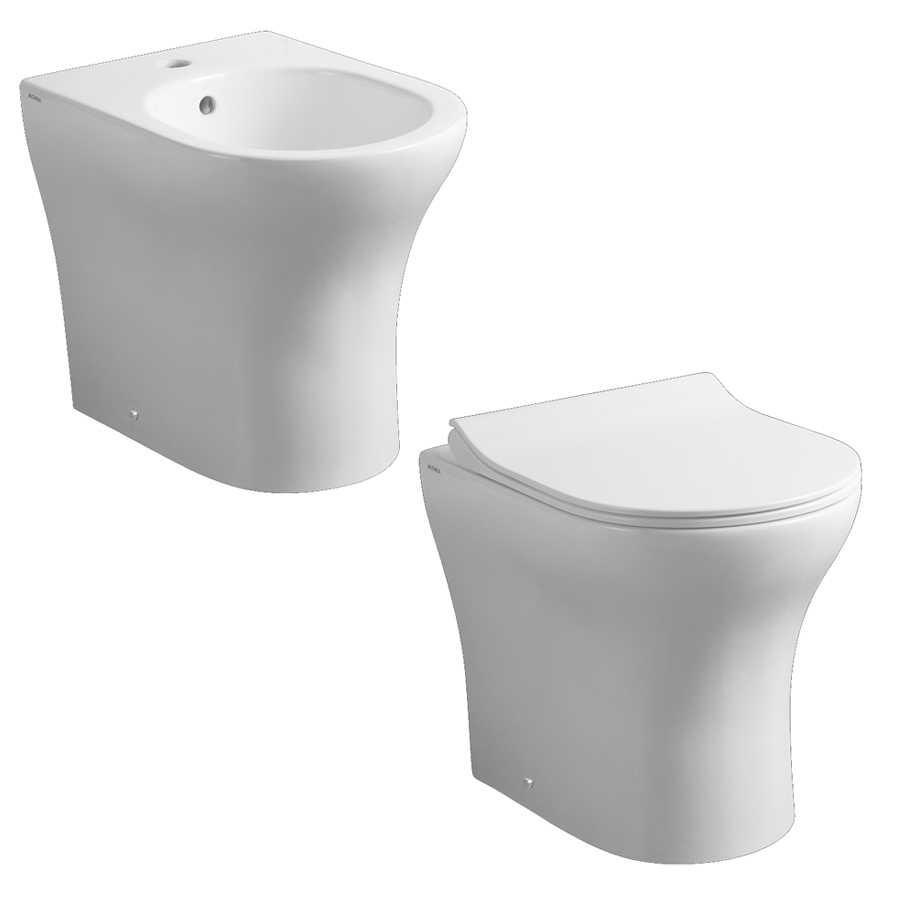 Coppia di sanitari filomuro WC rimless bidet e coprivaso modello Liz di Althea cm 50x36