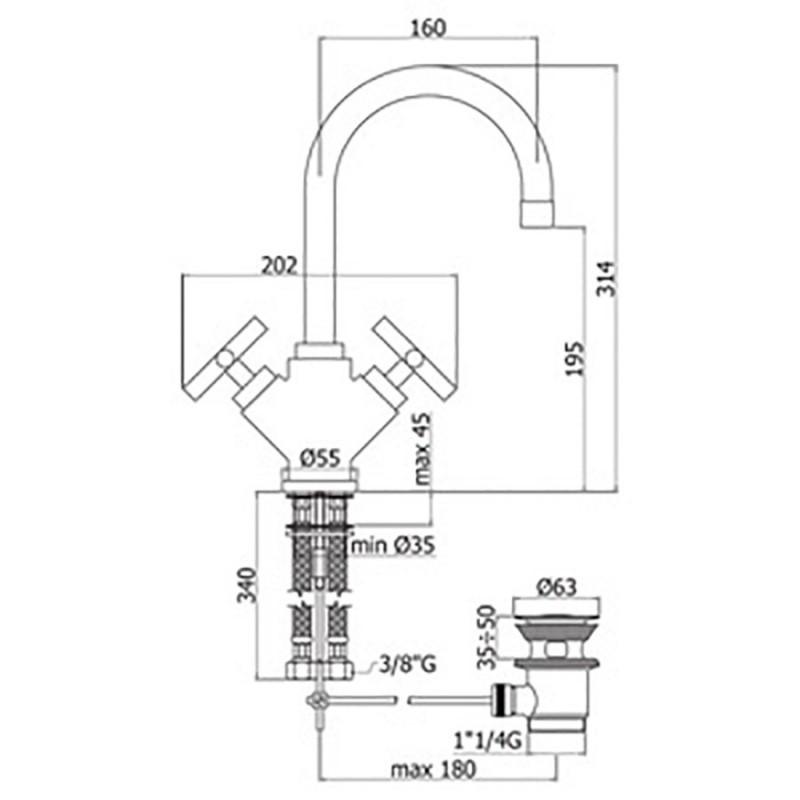 Miscelatore lavabo Paffoni Quattro con scarico e doppia maniglia a croce
