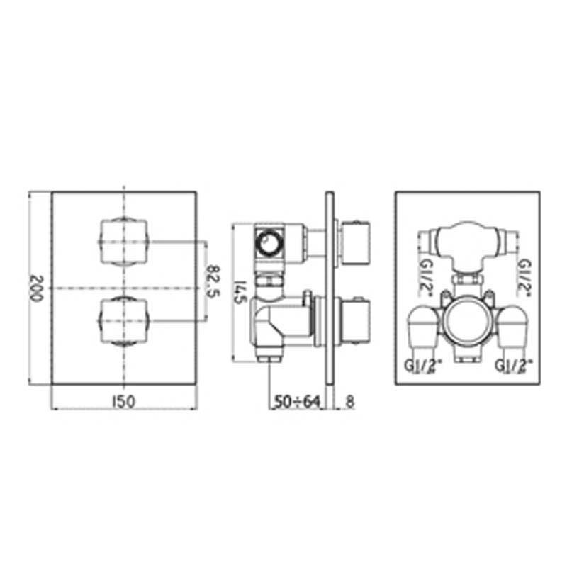 Paffoni mod. LEVEL Miscelatore termostatico incasso Doccia a tre vie LEQ519CR