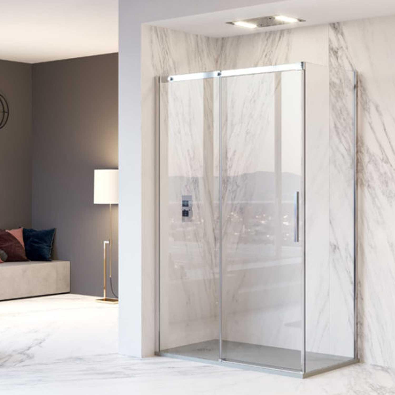 Box doccia angolare apertura scorrevole reversibile cm 120x70x200h modello Diomede  in cristallo temperato mm 8