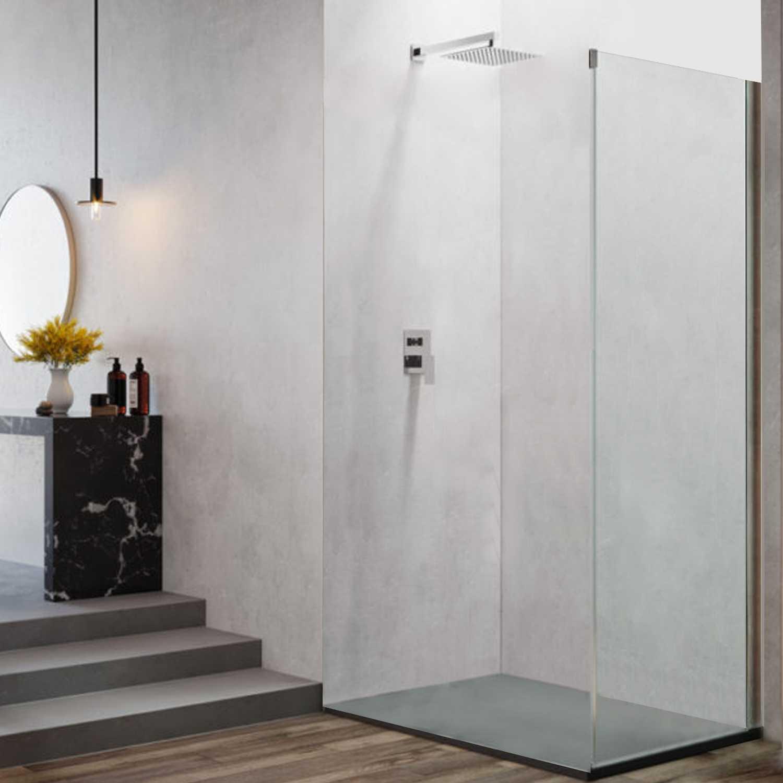 Pannello fisso da cm 70 per porta doccia apertura scorrevole reversibile modello Ares Evo in cristallo temperato mm 8