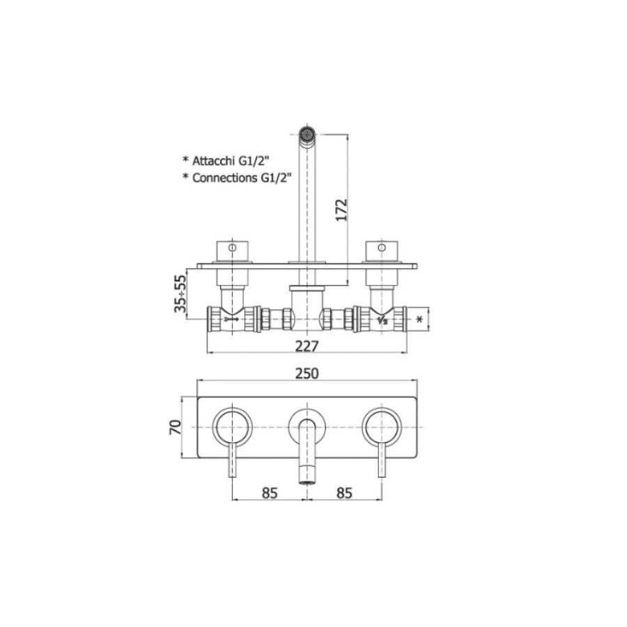 Batteria incasso miscelatore Lavabo Paffoni Light LIG100CR