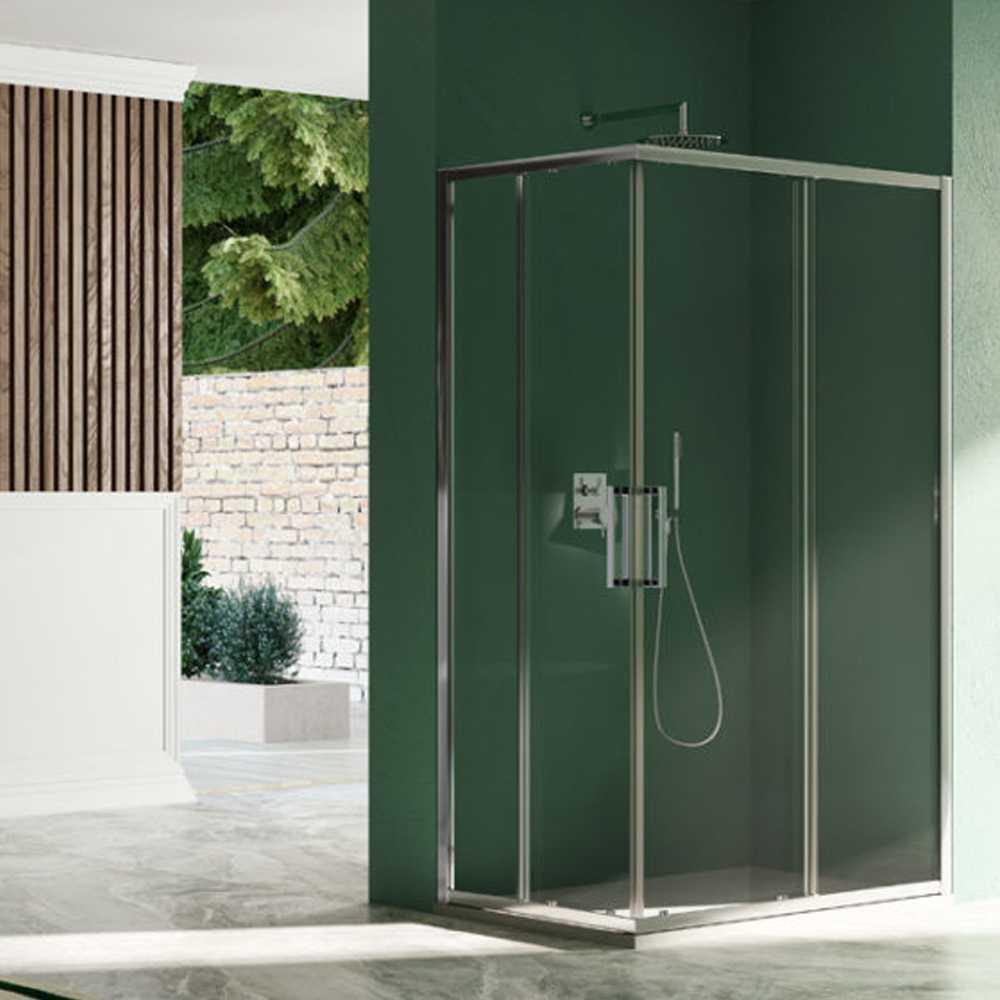 Box doccia quadrato con apertura angolare scorrevole cm 80x80 modello Kleos in cristallo temperato mm 8