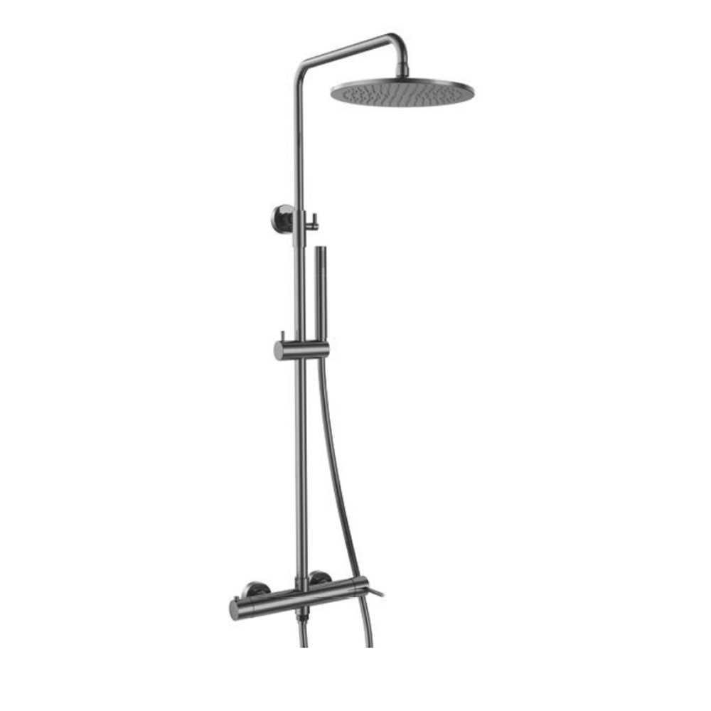 Colonna doccia con soffione ultrapiatto serie 'Round' by GME - Titanio