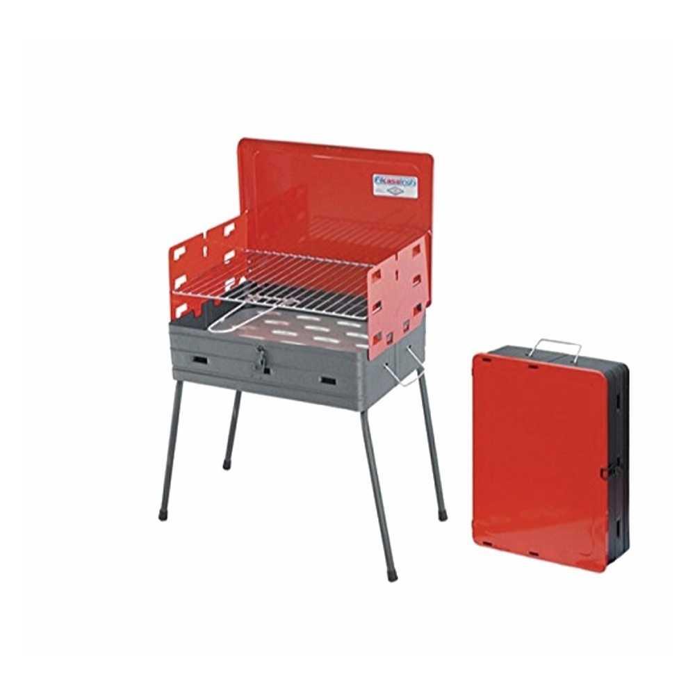 Barbecue in acciaio verniciato richiudibile a valigetta