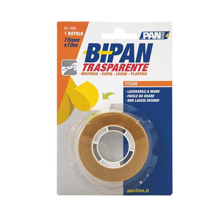 Bipan biadesivo trasparente 15x10 mmxmt CARAMELLA. Nastro adesivo trasparente a basso spessore, per fissaggi leggeri.