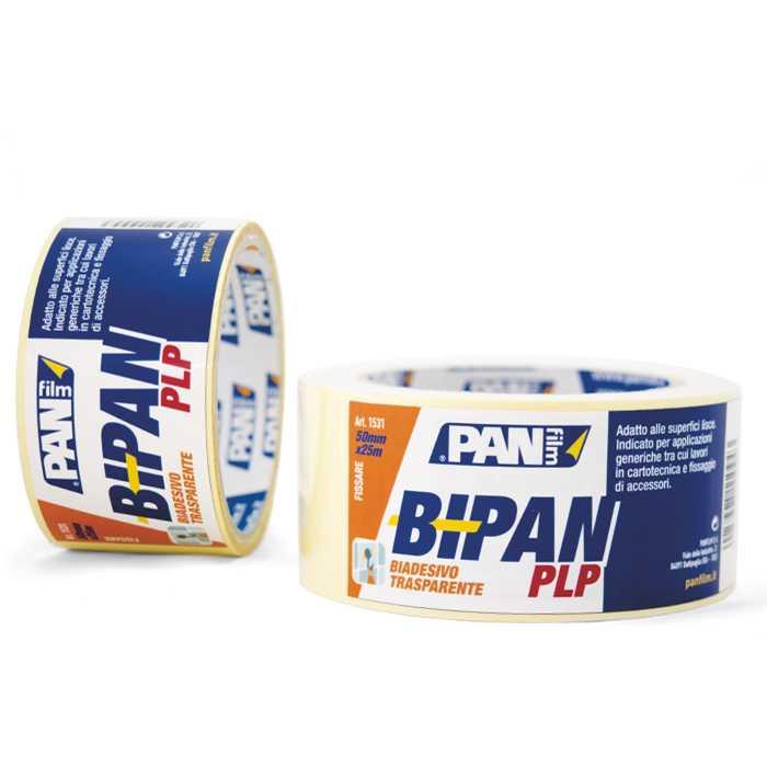 BIPAN PLP Biadesivo 50X5 mmxmt. Nastro ideale per grandi superfici, pannelli, locandine, moduli continui e profili adesivi.