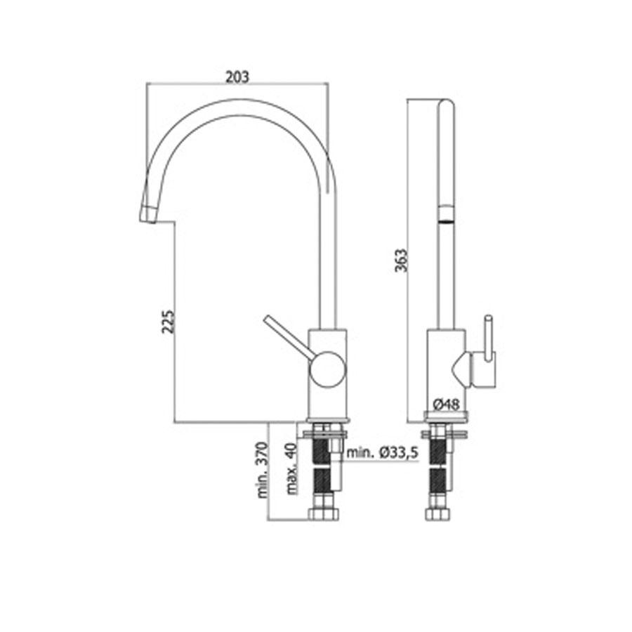Miscelatore Lavello monoforo con canna orientabile Paffoni Light LIG180CR