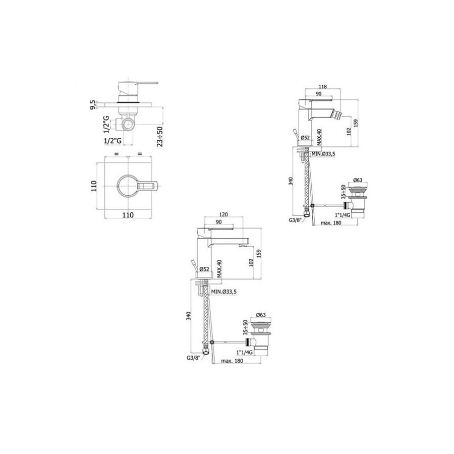 Set di miscelatori Paffoni Ringo lavabo, bidet e doccia