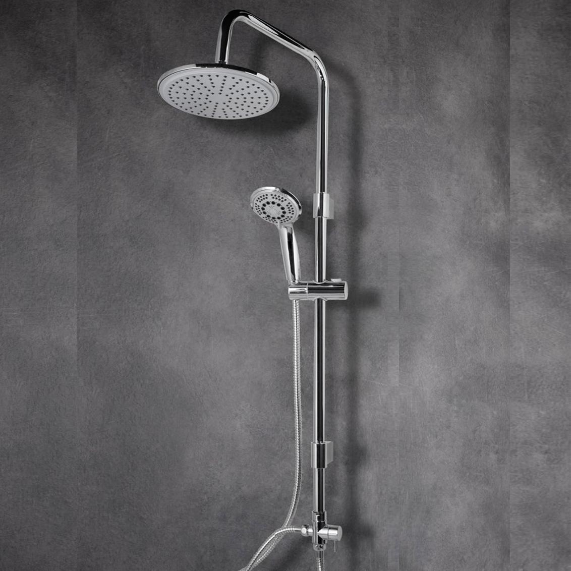 Colonna doccia tonda in ottone cromato con soffione d.20  e deviatore incorporato mod. Milos