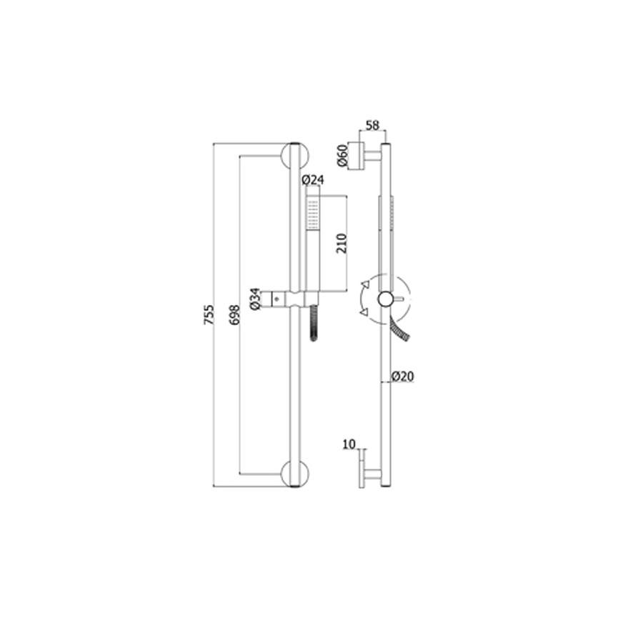 Saliscendi doccia Paffoni ZSAL135 CR con doccia Life Tonda in metallo