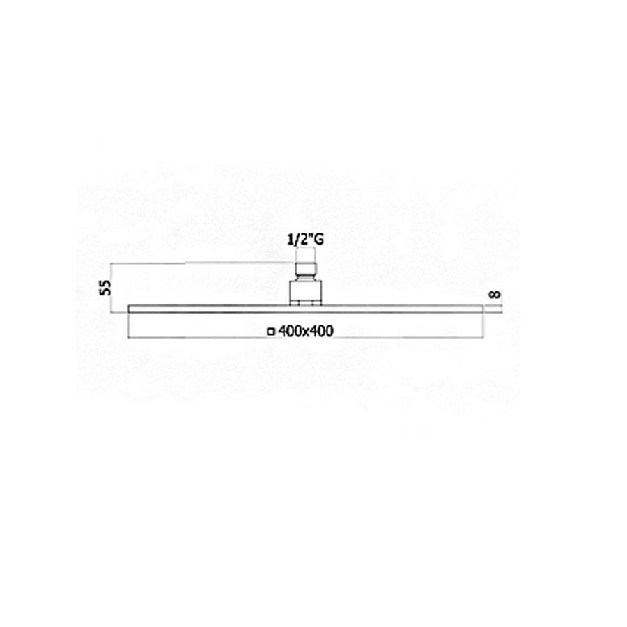 Soffione doccia anticalcare quadrato Paffoni 40X40 cm in metallo