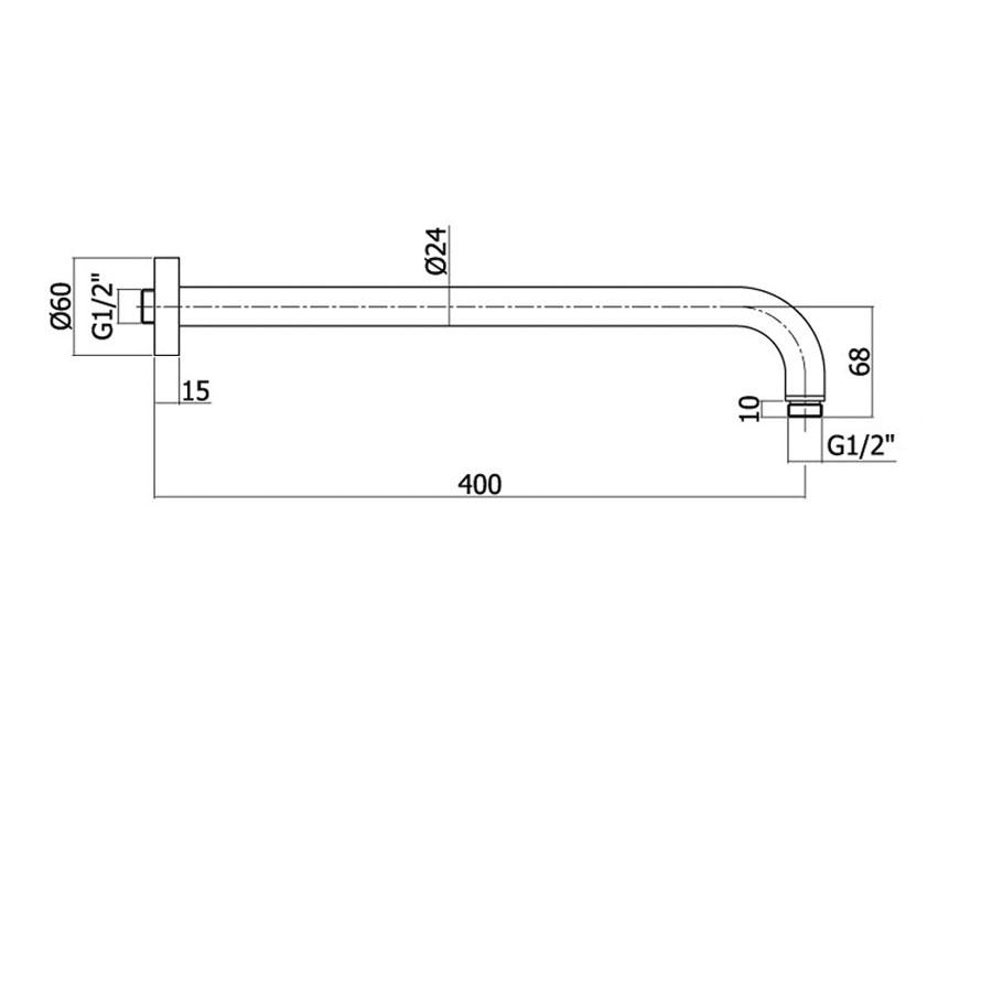 Braccio doccia tondo 40 cm in ottone cromato Paffoni ZSOF034CR