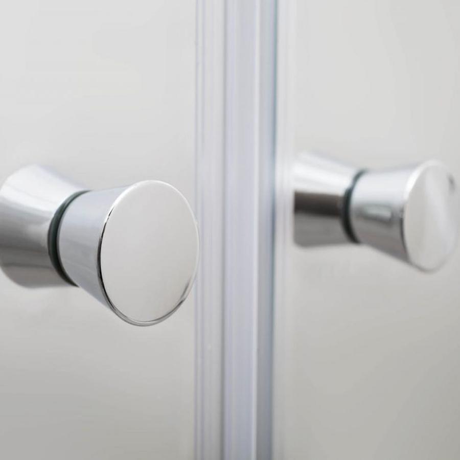 Porta doccia per nicchia da 100 cm apertura saloon in cristallo trasparente da 6 mm