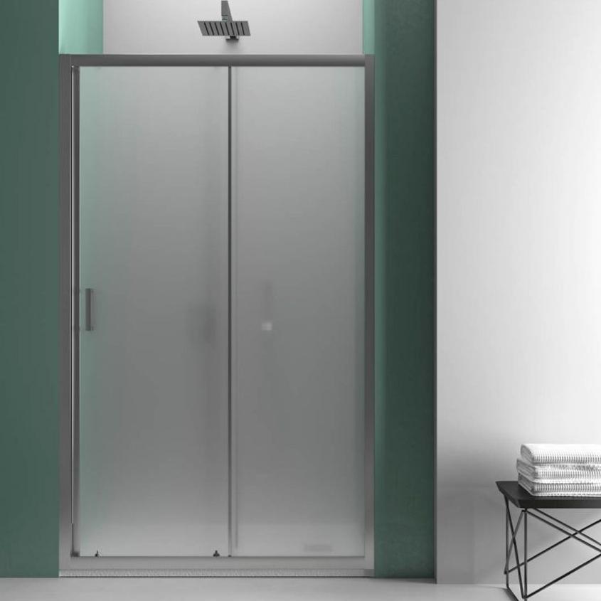 Porta doccia Smart per nicchia 100 cm apertura scorrevole in cristallo opaco da 6 mm