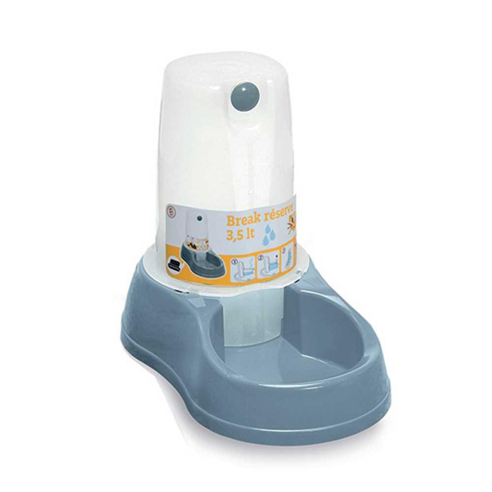 Ciotola acqua per cane/gatto con riserva Stefanplast Capienza Litri 3,5 Colore Blu Acciaio