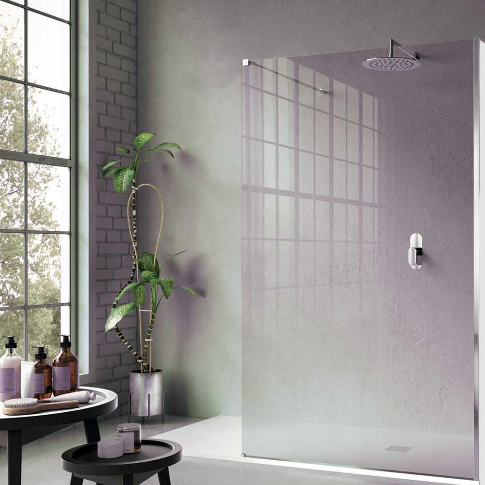 Parete doccia Walk In Free 100 cm cristallo temperato 8 mm con braccio in ottone cromato