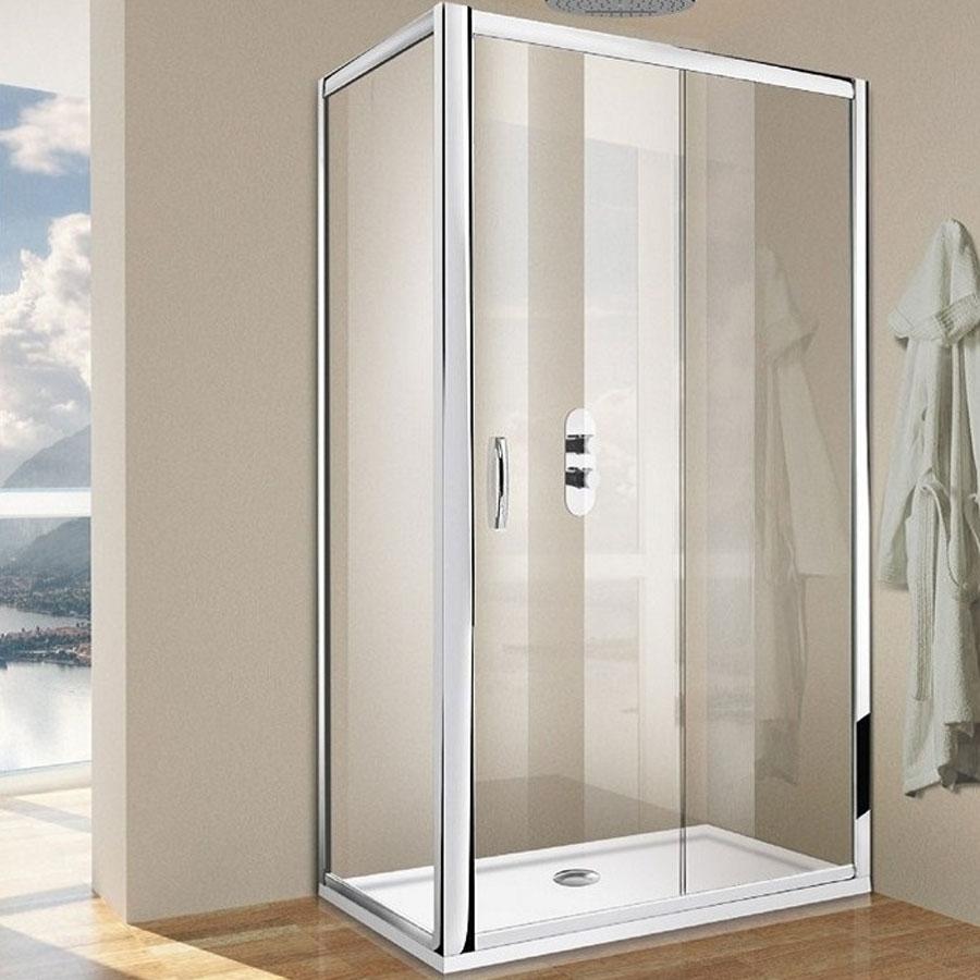 Porta doccia scorrevole per nicchia da 140 cm cristallo trasparente 6 mm