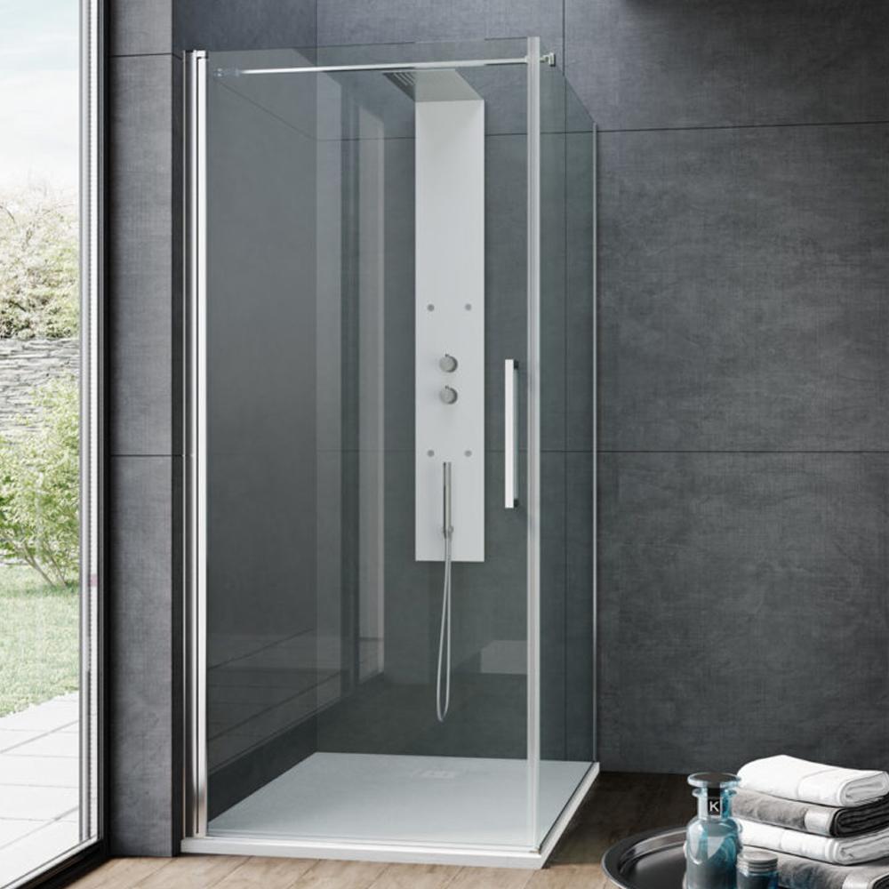 Porta doccia apertura battente reversibile per nicchia da 70 cm modello Beauty in cristallo trasparente 8 mm