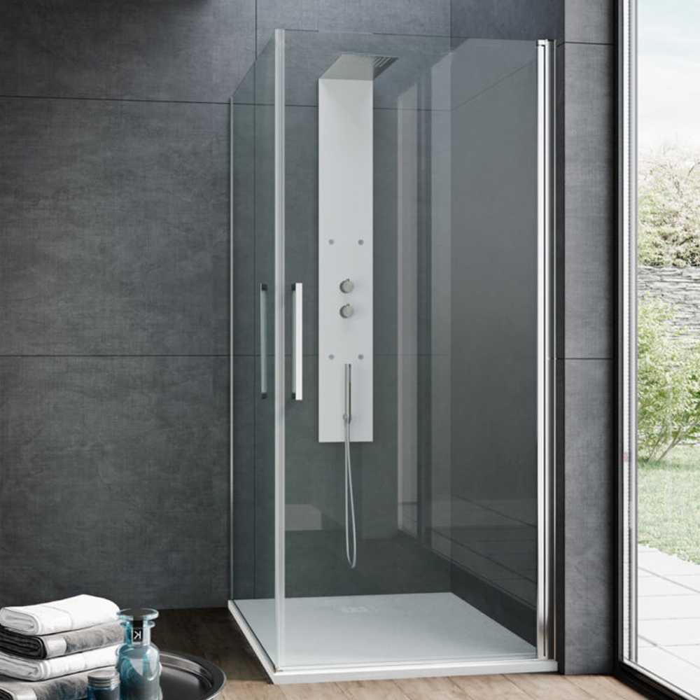Box doccia con apertura angolare doppio battente cm 80x80 modello Vogue in cristallo temperato mm 8