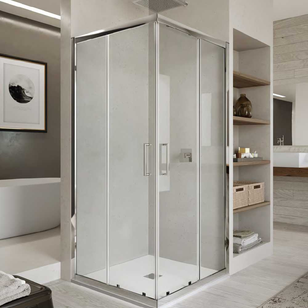 Box doccia quadrato con apertura angolare scorrevole cm 80x80 modello Venere 2.0 in cristallo temperato mm 6