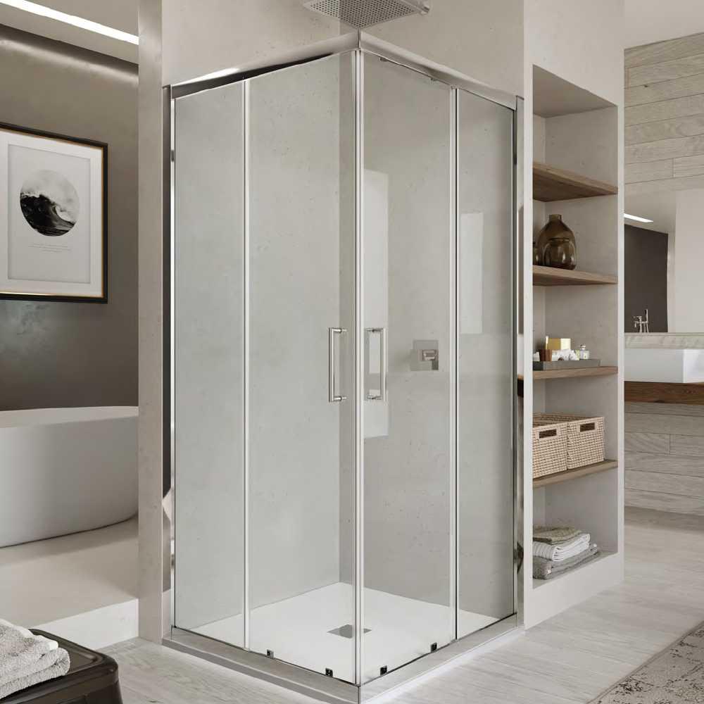 Box doccia quadrato con apertura angolare scorrevole cm 90x90 modello Venere 2.0 in cristallo temperato mm 6