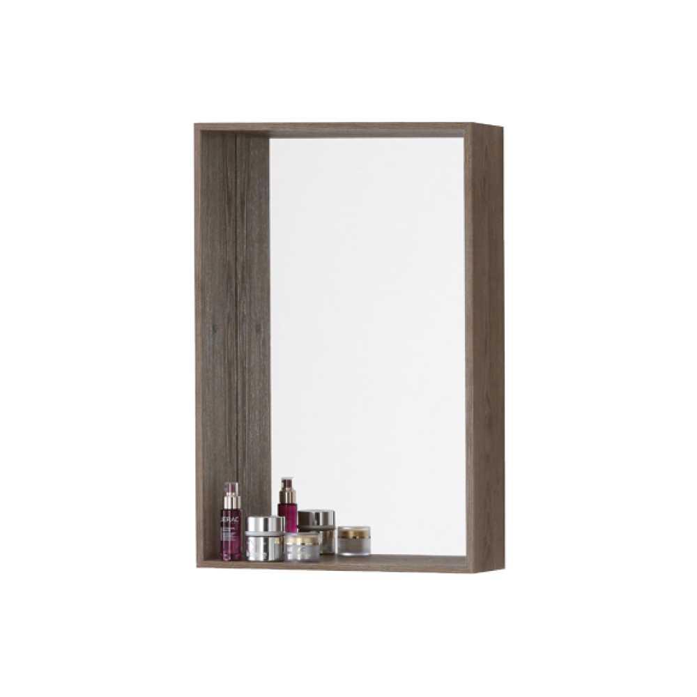Specchiera con cornice-mensola in nobilitato Upside cm 45 Colore Castagno